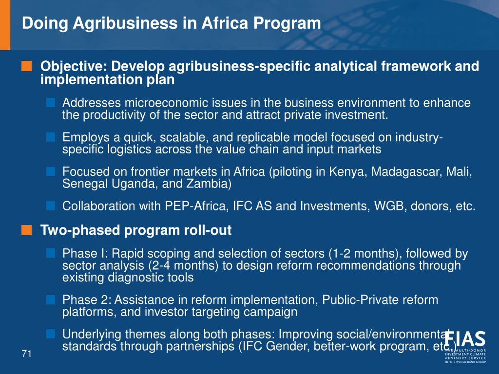Doing Agribusiness in Africa Program