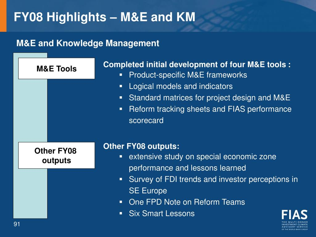 FY08 Highlights – M&E and KM