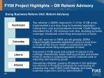 fy08 project highlights db reform advisory