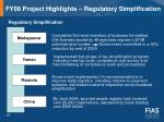 fy08 project highlights regulatory simplification