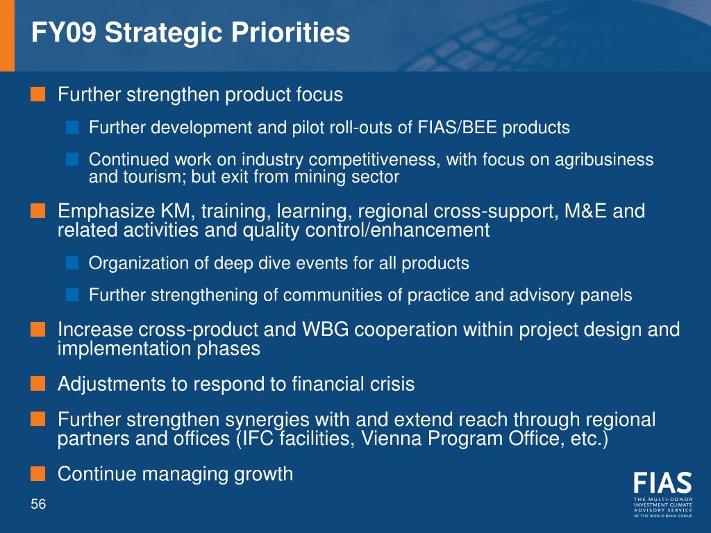 FY09 Strategic Priorities