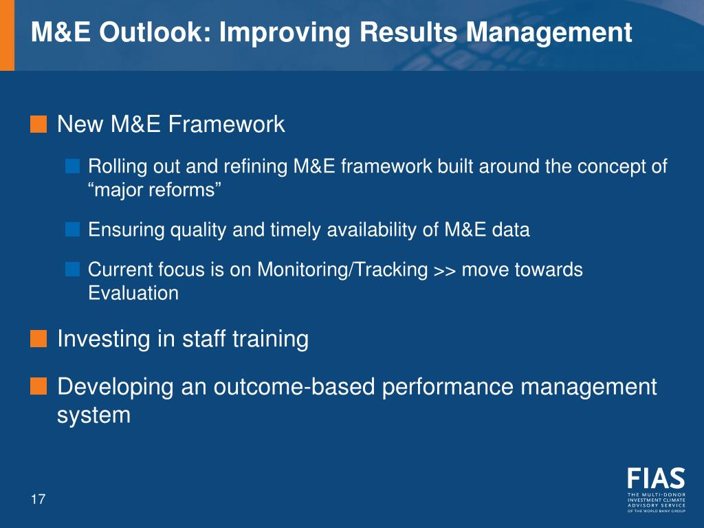 M&E Outlook: Improving Results Management