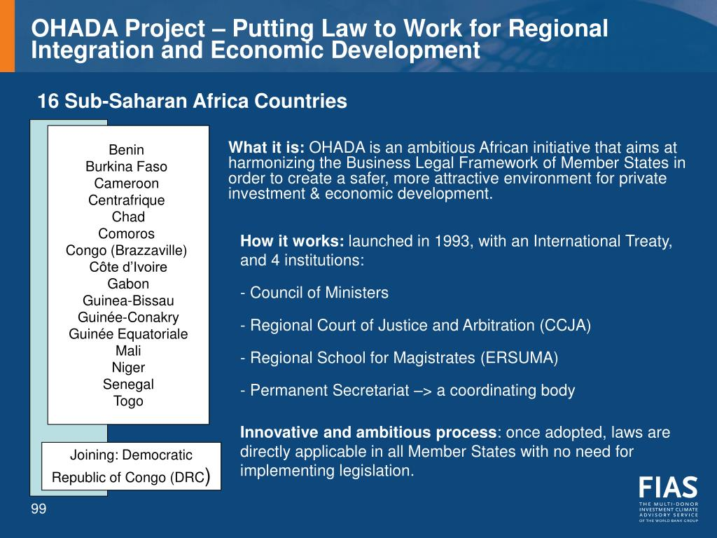 OHADA Project – Putting Law to Work for Regional Integration and Economic Development