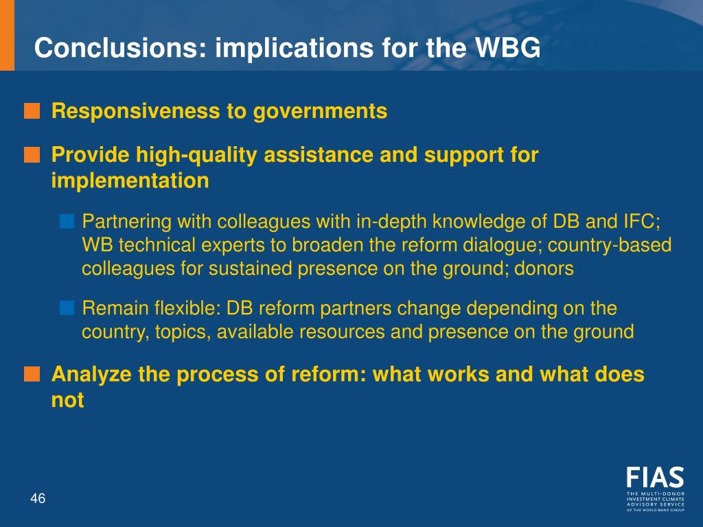 Conclusions: implications for the WBG