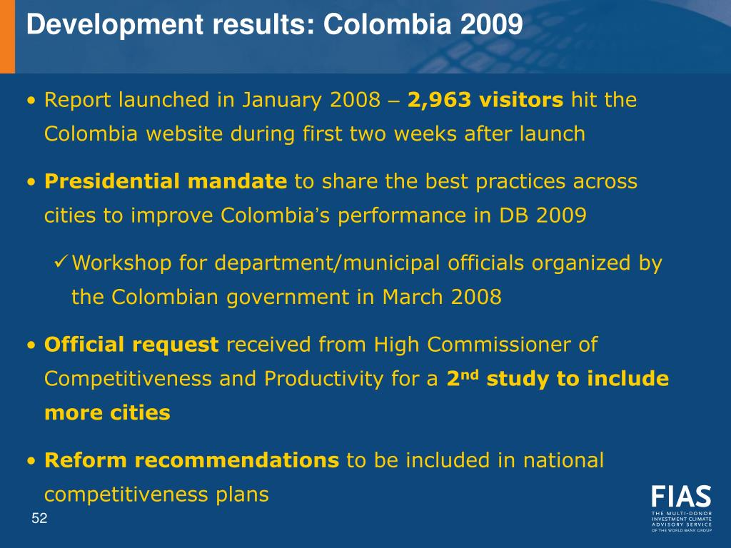Development results: Colombia 2009
