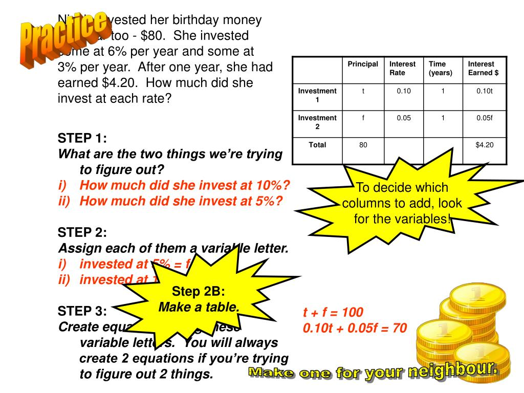 Nicole invested her birthday money last year too - $80.  She invested some at 6% per year and some at 3% per year.  After one year, she had earned $4.20.  How much did she invest at each rate?