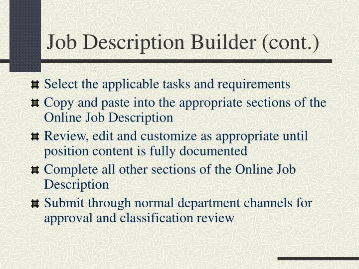 Job Description Builder (cont.)