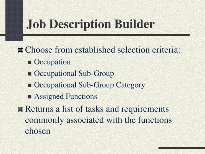 Job Description Builder