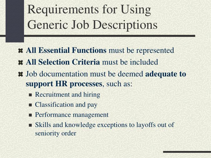 Requirements for Using