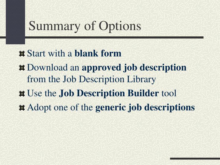 Summary of Options