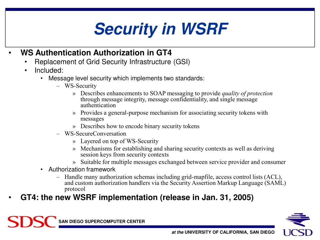 Security in WSRF