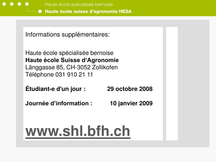 Informations supplémentaires: