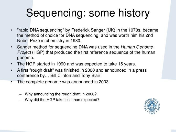 Sequencing some history