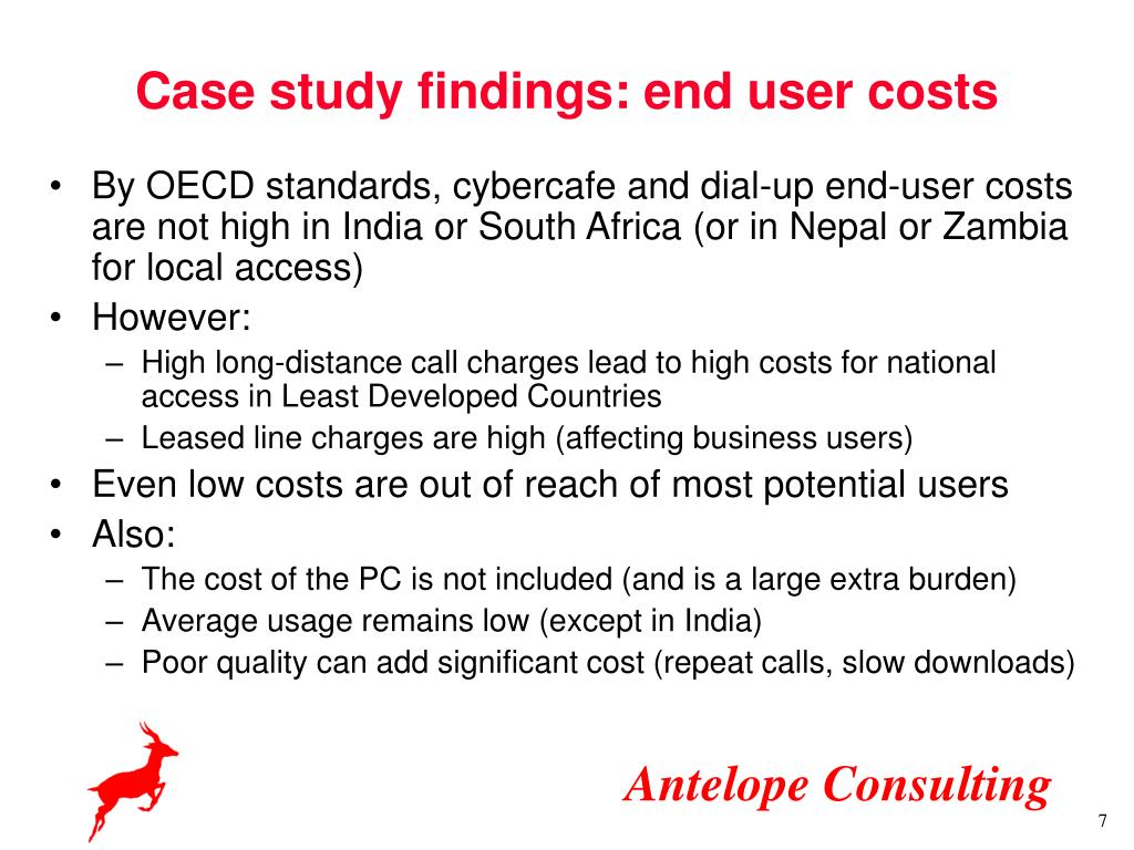 Case study findings: end user costs