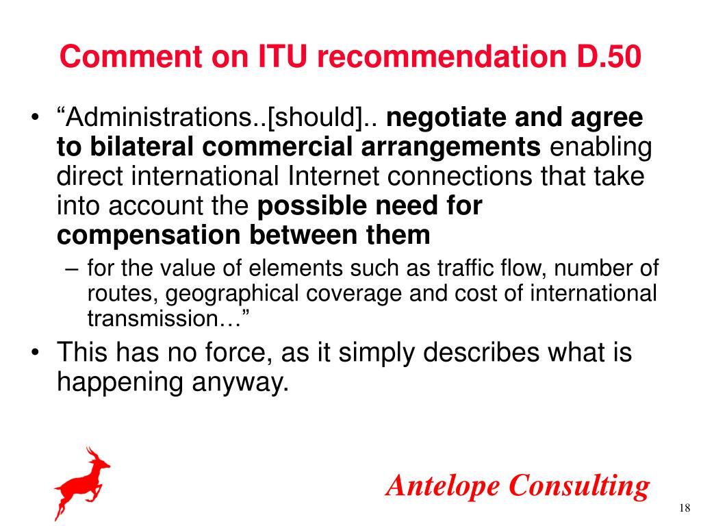 Comment on ITU recommendation D.50