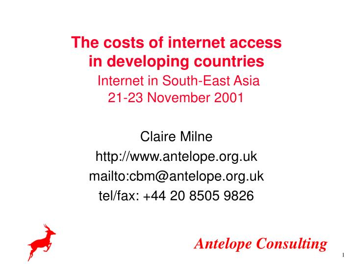 The costs of internet access