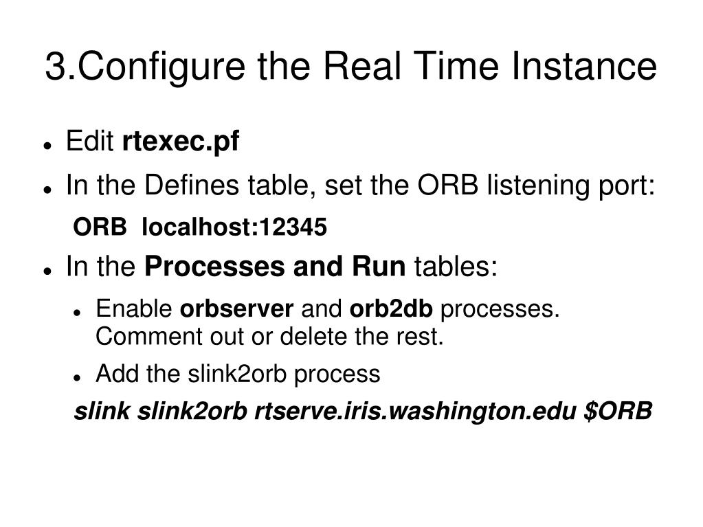 3.Configure the Real Time Instance