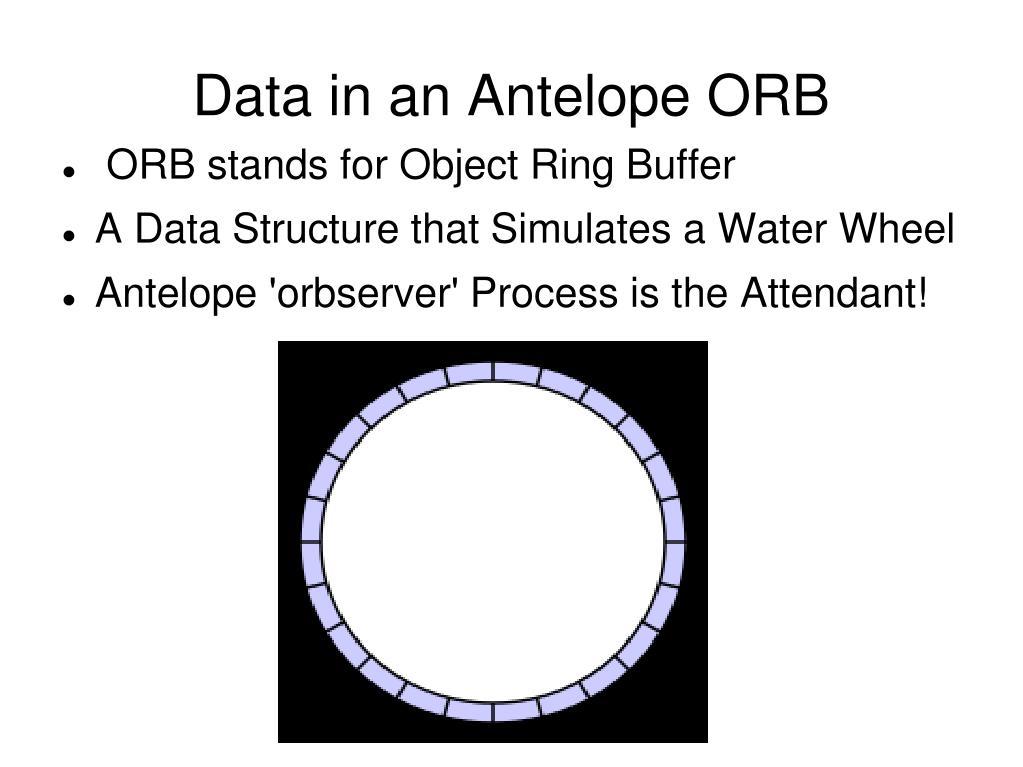 Data in an Antelope ORB