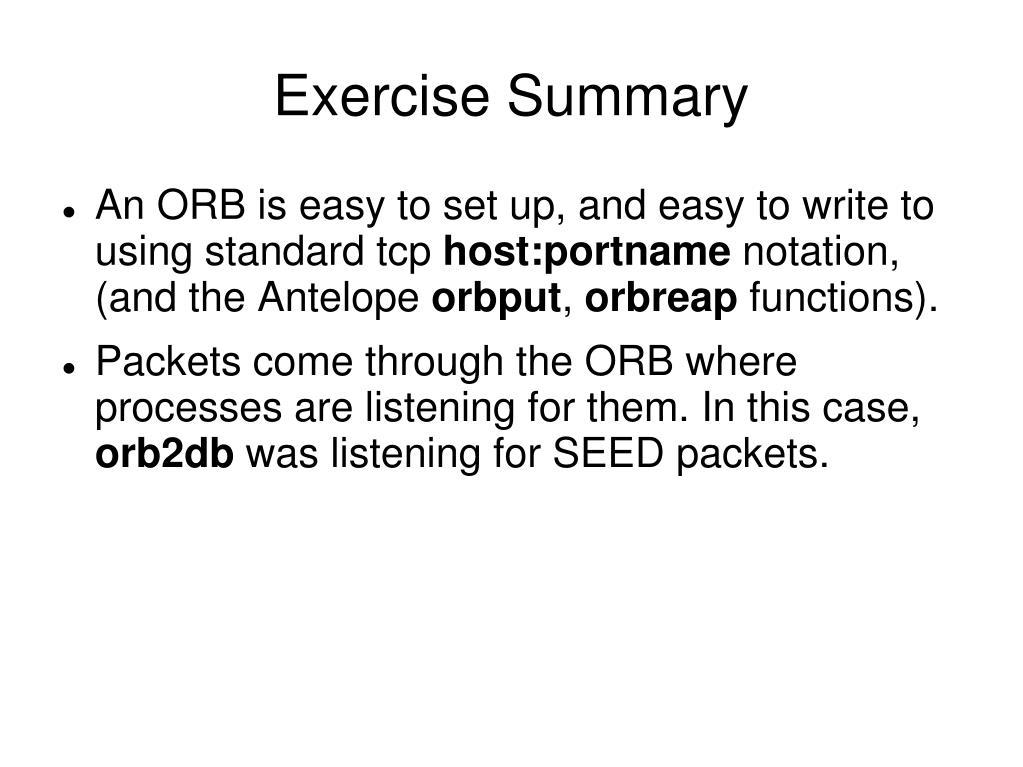 Exercise Summary