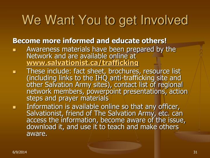 We Want You to get Involved