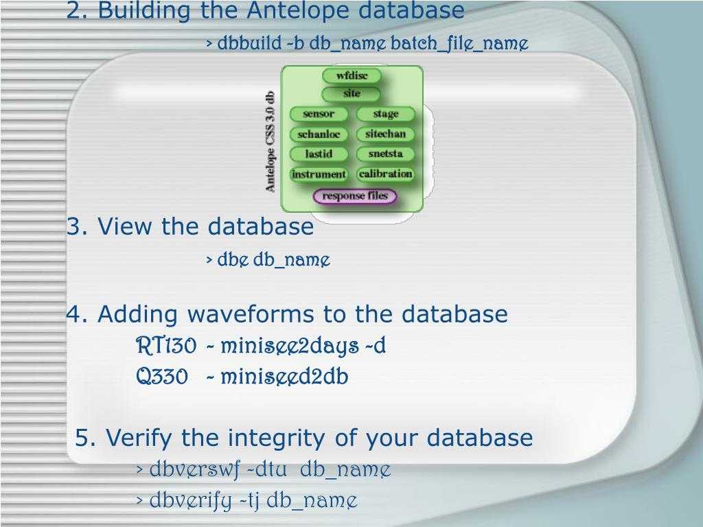 2. Building the Antelope database