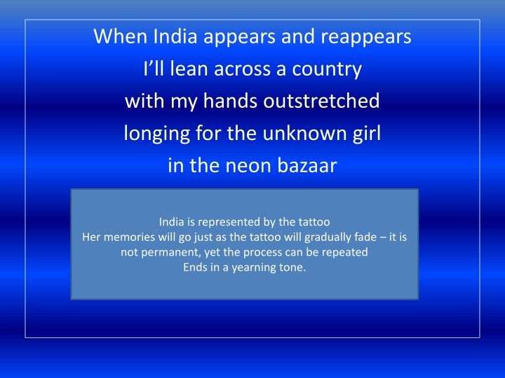 unknown girl moniza alvi essay Free essay: an unknown girl moniza alvi was born in pakistan her father was pakistani and mother english she left pakistan when she was a baby for england.