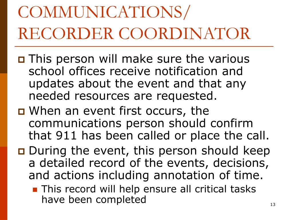 COMMUNICATIONS/ RECORDER COORDINATOR