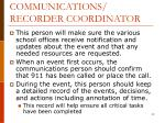 communications recorder coordinator