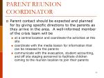 parent reunion coordinator