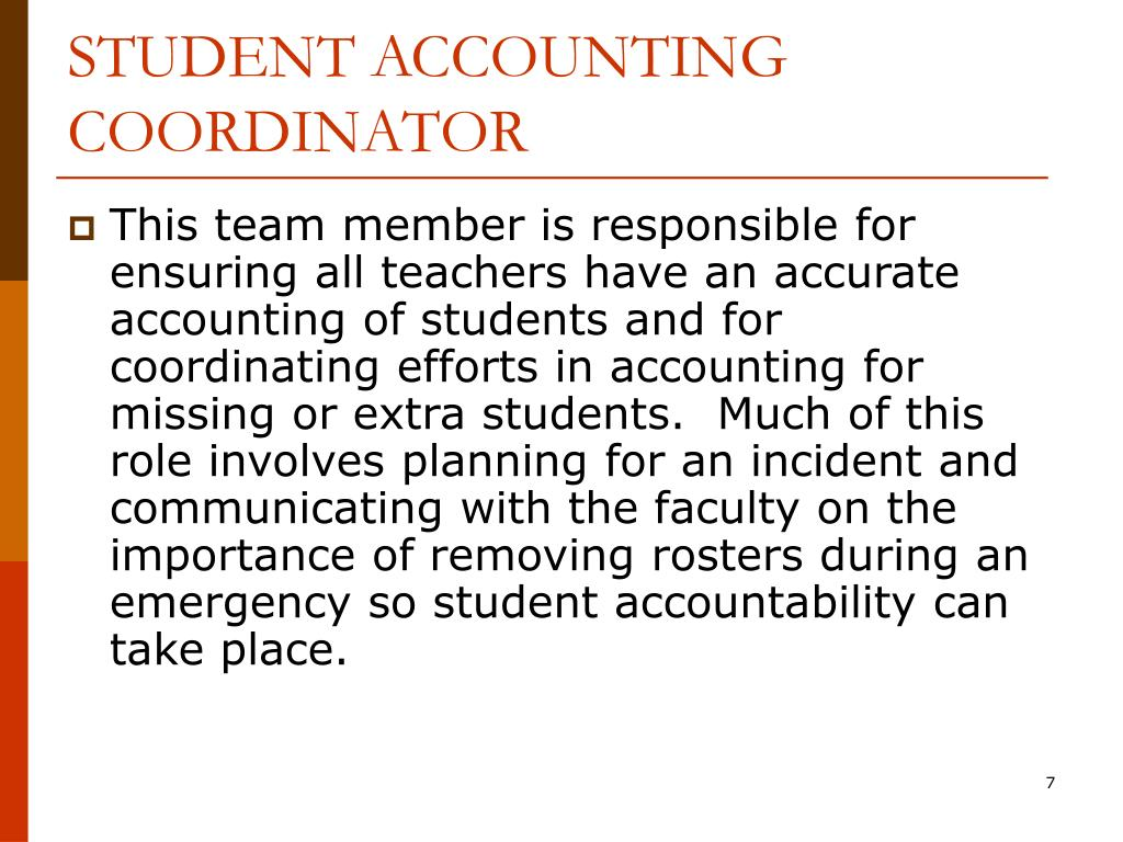STUDENT ACCOUNTING COORDINATOR