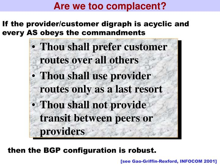 Are we too complacent?