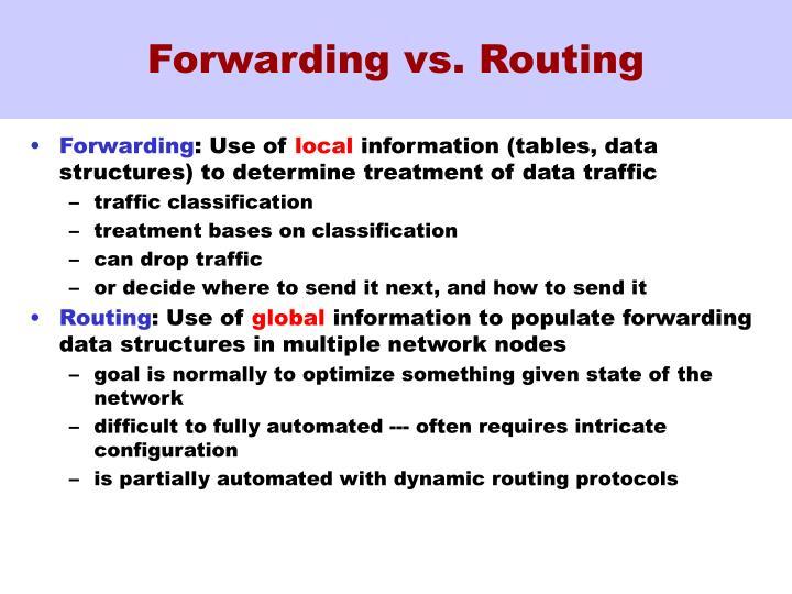 Forwarding vs. Routing