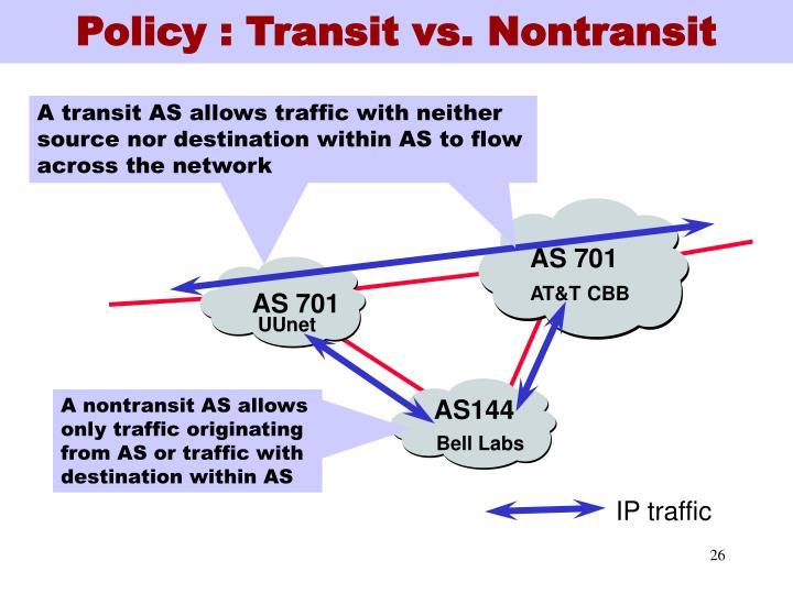 Policy : Transit vs. Nontransit