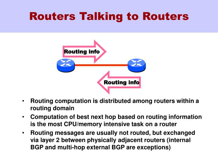 Routers Talking to Routers