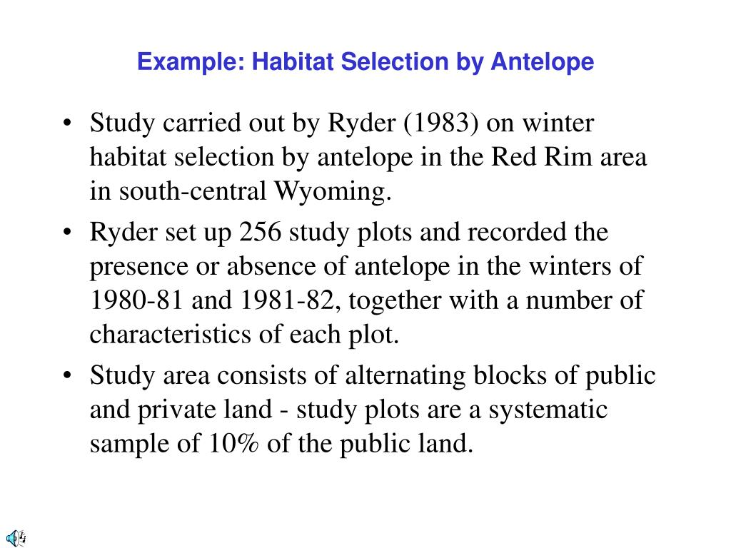Example: Habitat Selection by Antelope