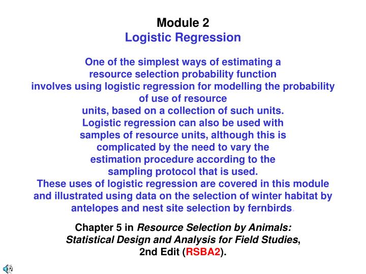 Module 2 logistic regression