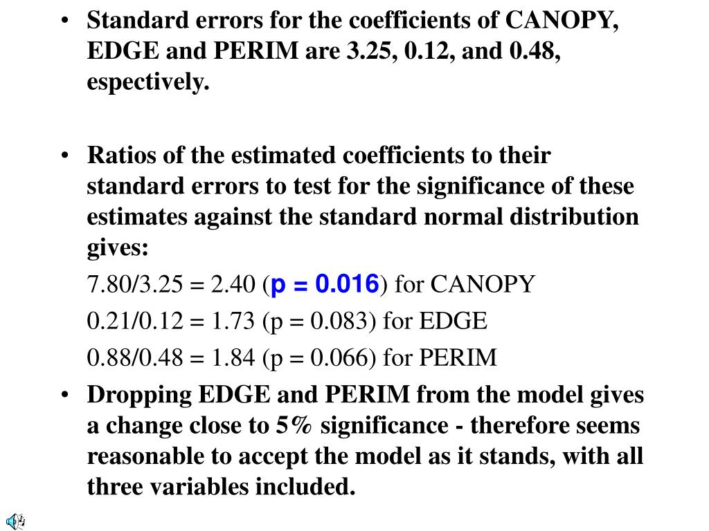 Standard errors for the coefficients of CANOPY, EDGE and PERIM are 3.25, 0.12, and 0.48, espectively.