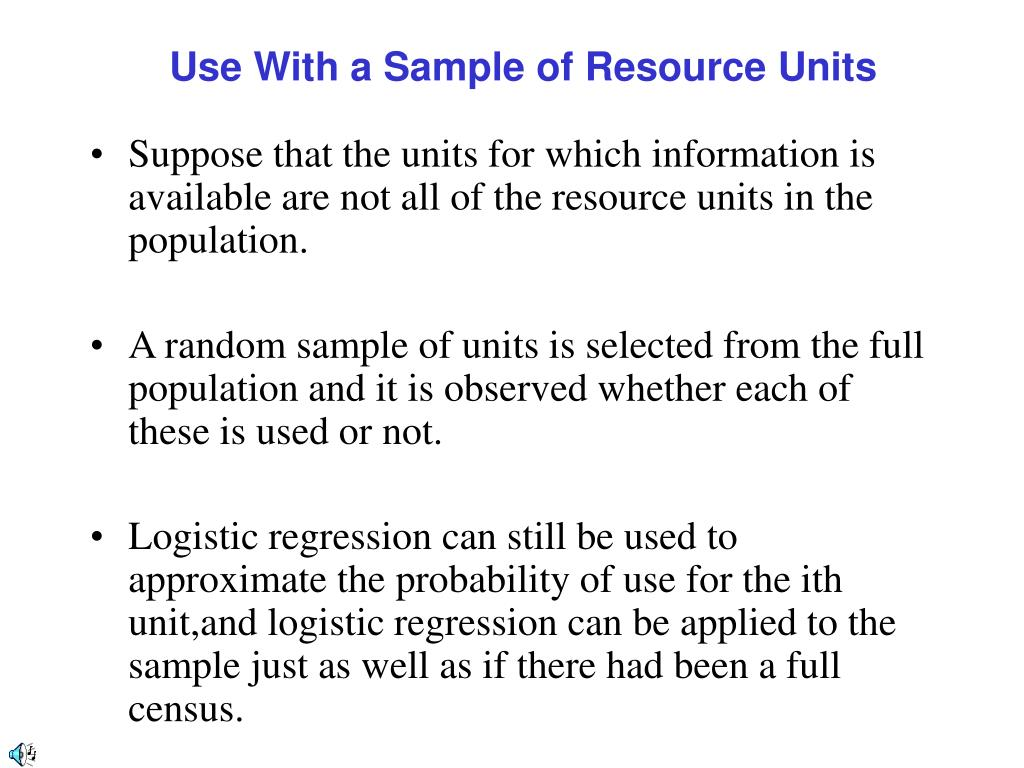 Use With a Sample of Resource Units