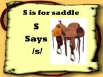 s is for saddle