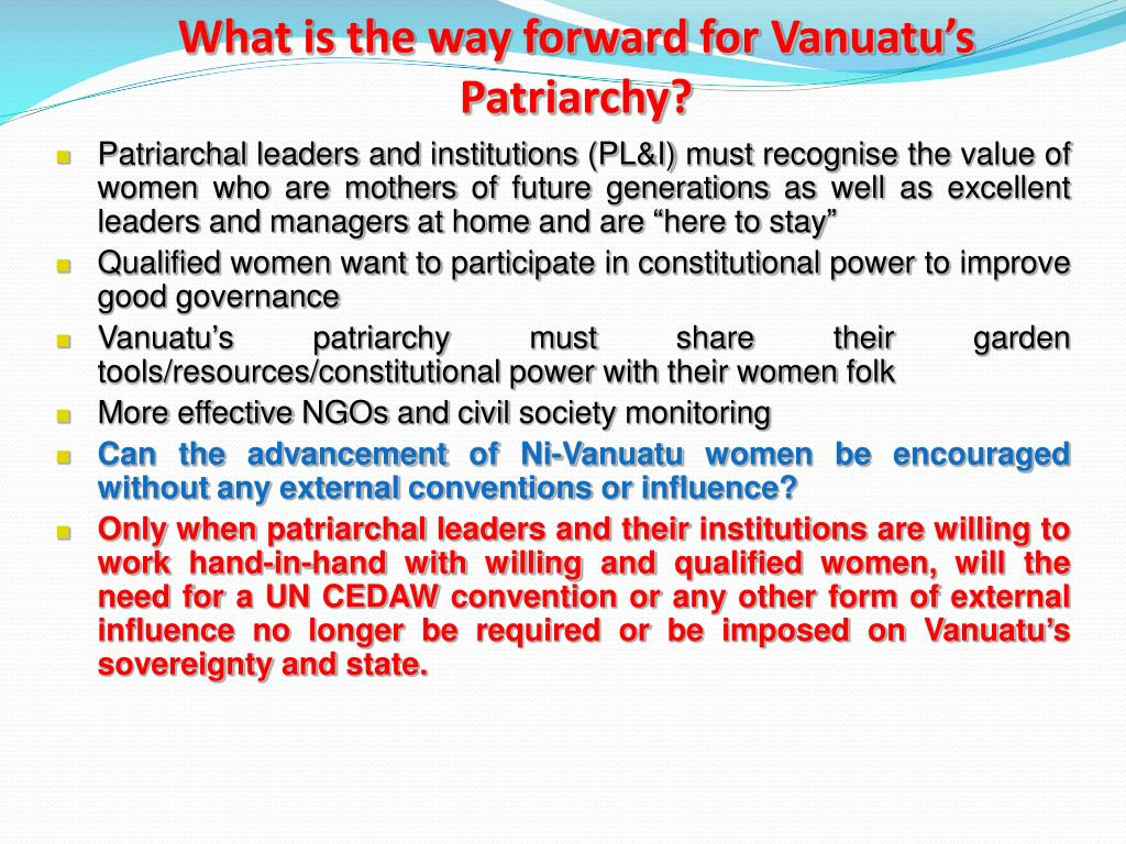 What is the way forward for Vanuatu's Patriarchy?