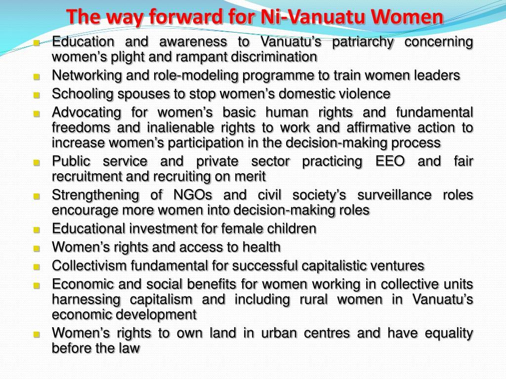 The way forward for Ni-Vanuatu Women