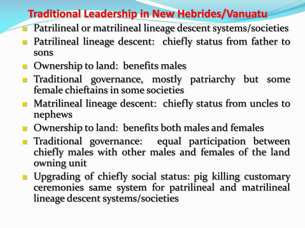 Traditional Leadership in New Hebrides/Vanuatu