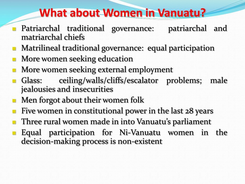 What about Women in Vanuatu?