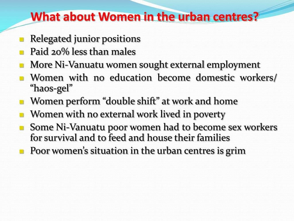 What about Women in the urban centres?