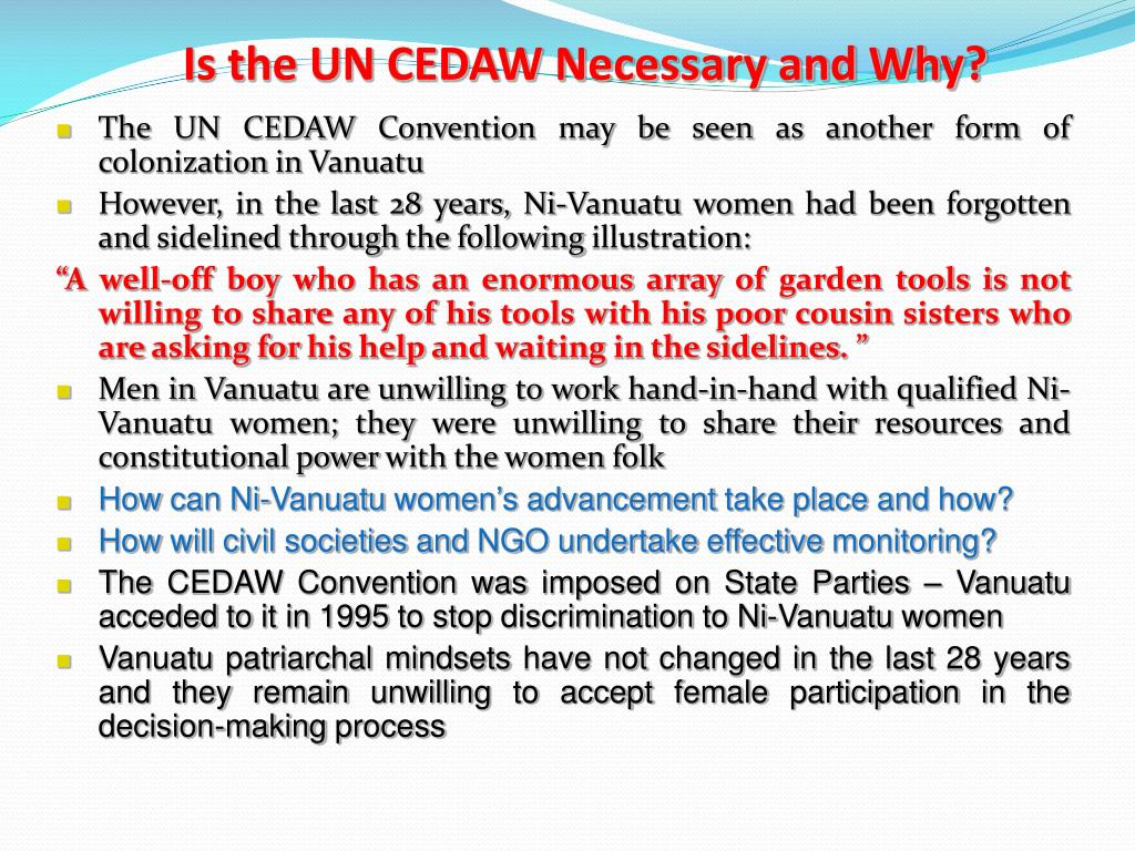 Is the UN CEDAW Necessary and Why?