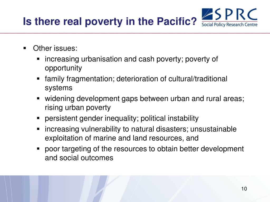 Is there real poverty in the Pacific?