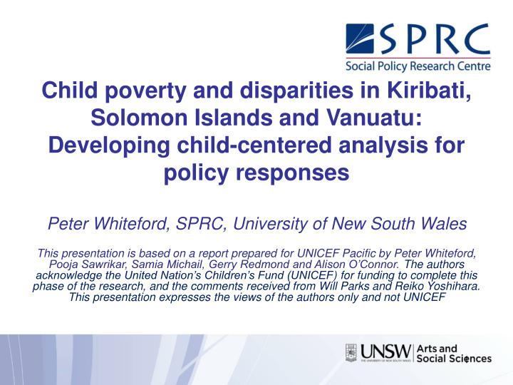 Child poverty and disparities in Kiribati, Solomon Islands and Vanuatu: