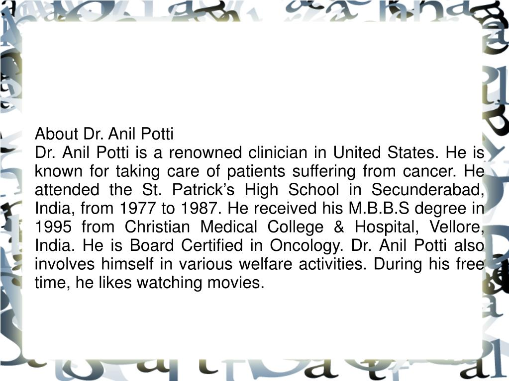 About Dr. Anil Potti