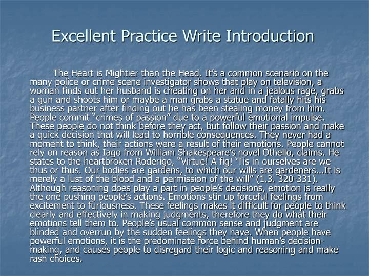Excellent Practice Write Introduction