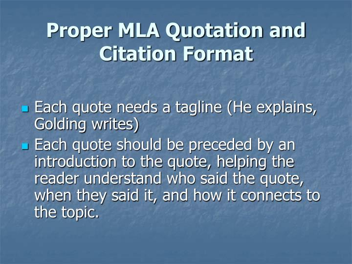 Proper MLA Quotation and Citation Format